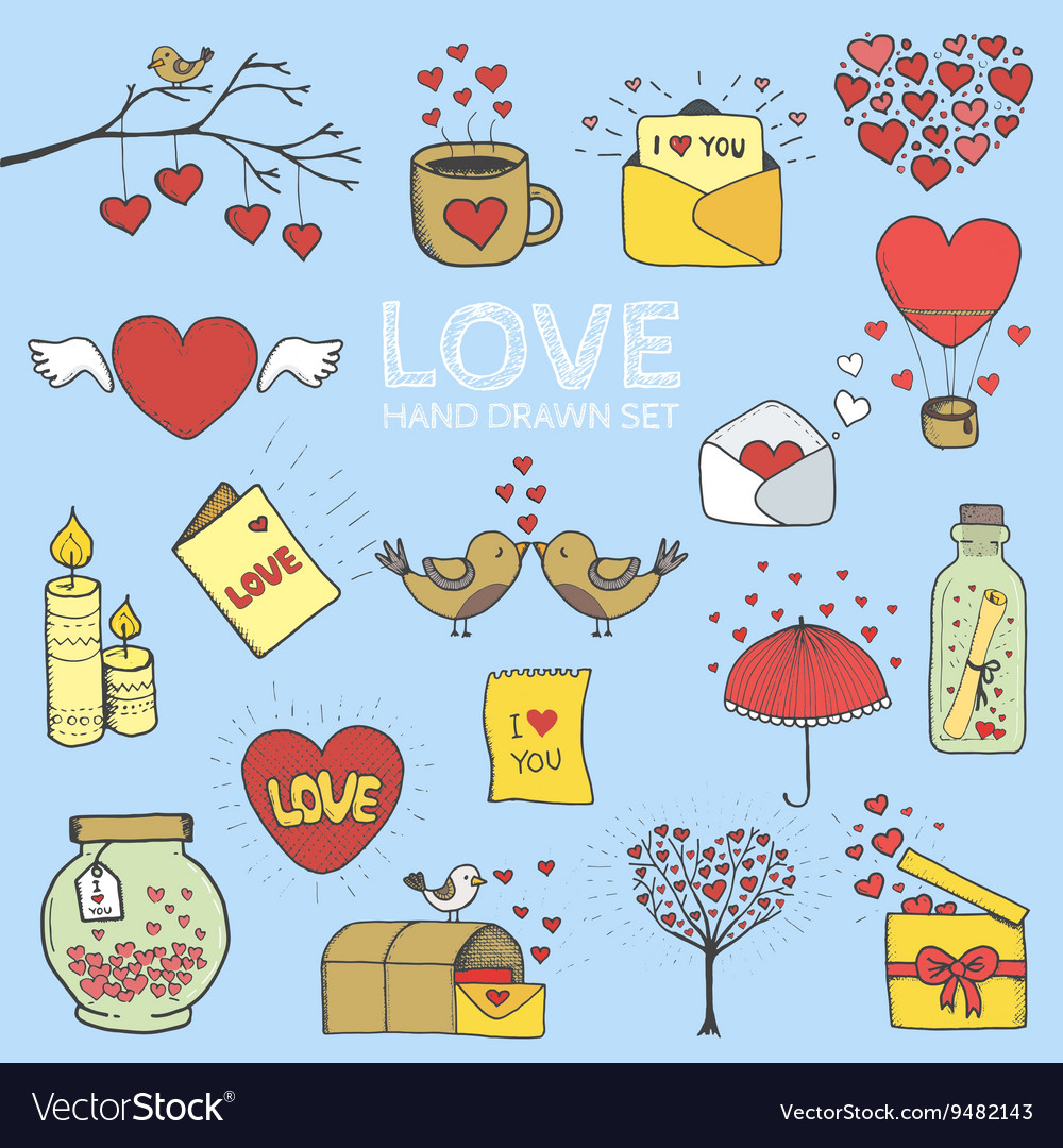 I love you doodle icon set isolated