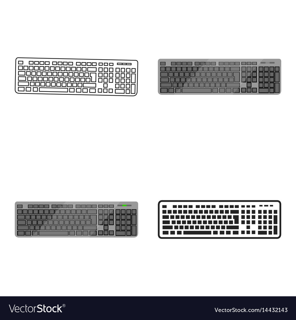 Keyboard icon in cartoon style isolated on white