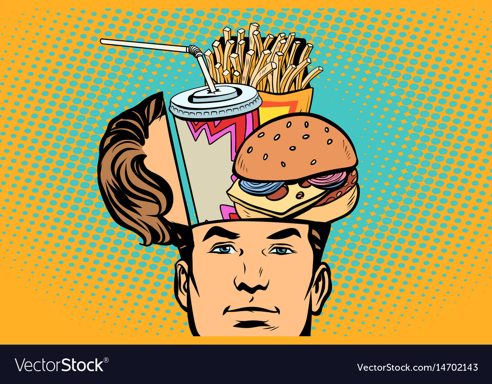 Man with an open head fast food vector image