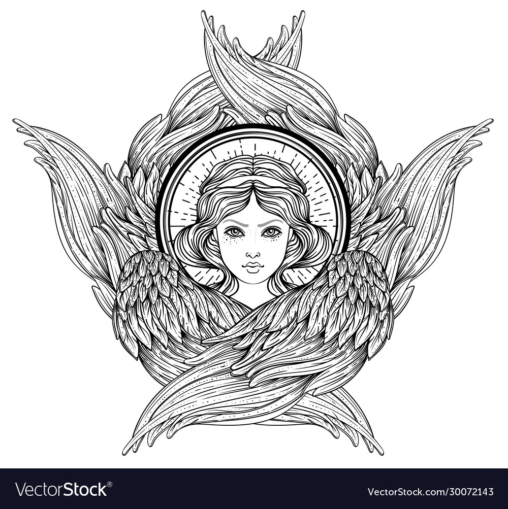 Seraph six winged angel isolated hand drawn