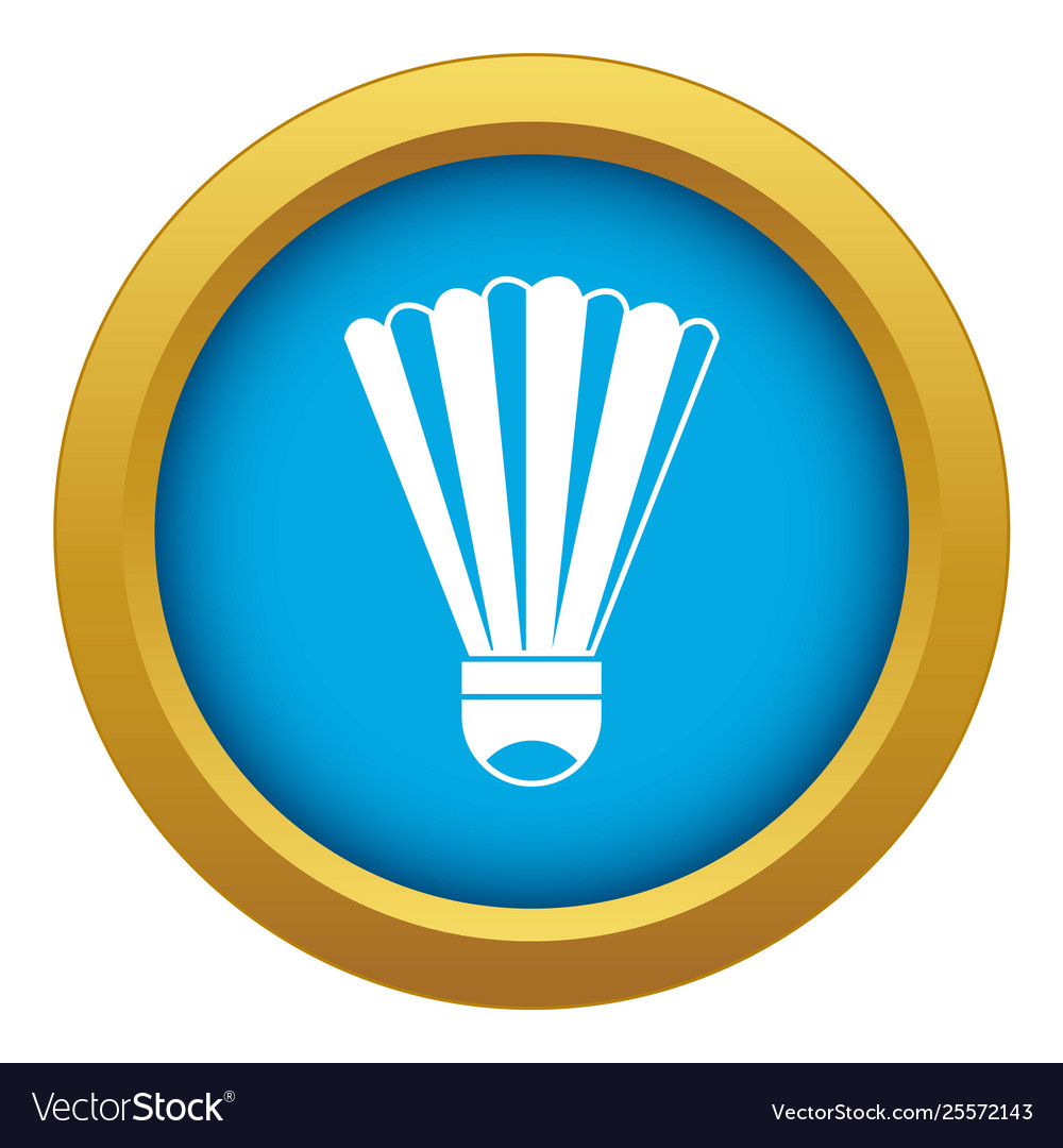 Shuttlecock icon blue isolated