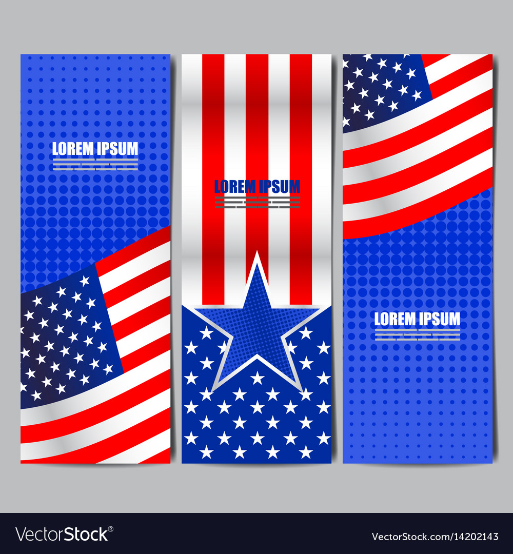 usa flag banner layout template design royalty free vector