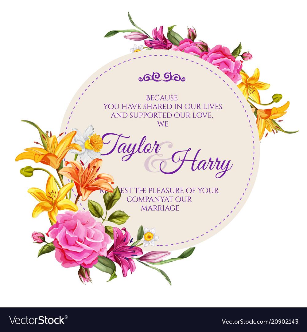 Watercolor lily rose flower wedding card vector image izmirmasajfo