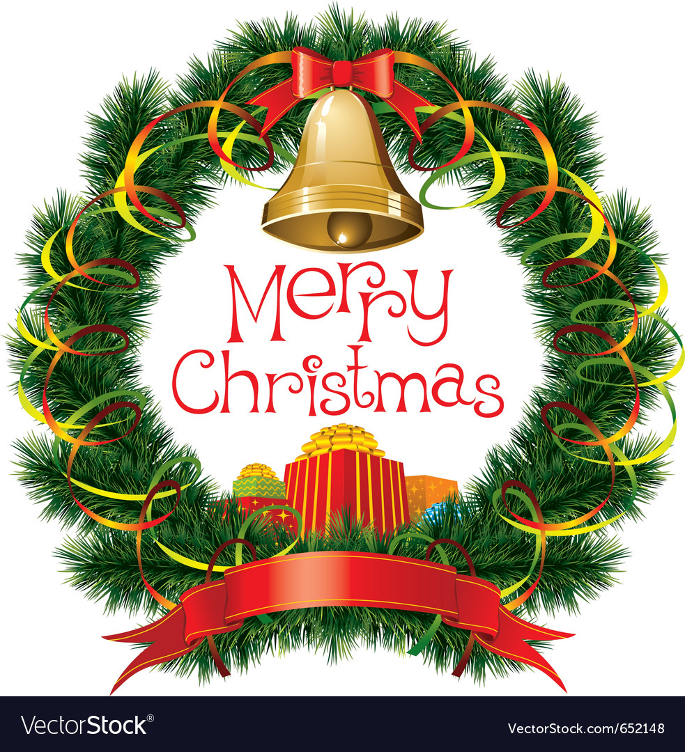 christmas bells with christmas tree decorations vector image - Christmas Bells Decorations