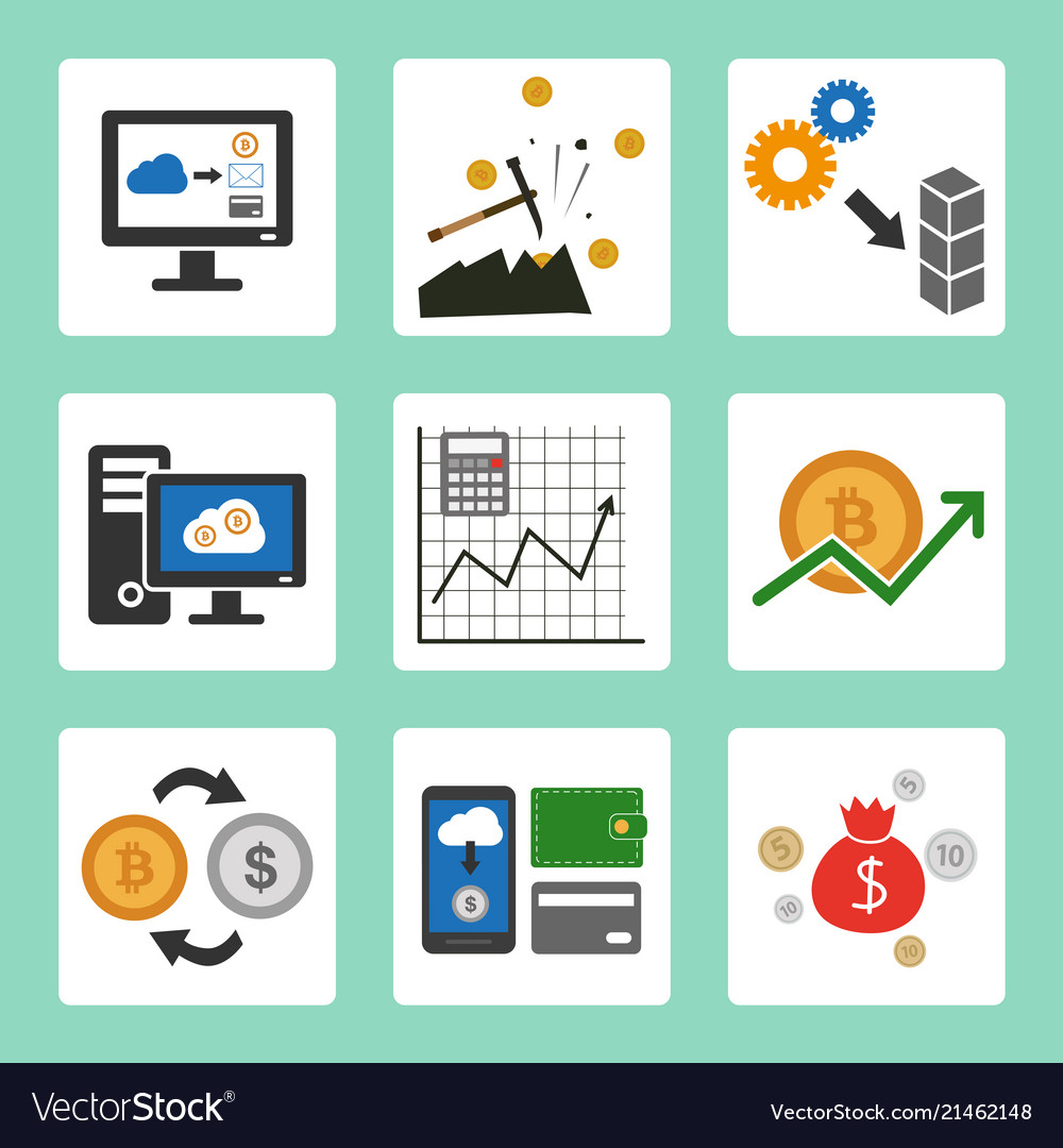 Cryptocurrency cloud mining icons set