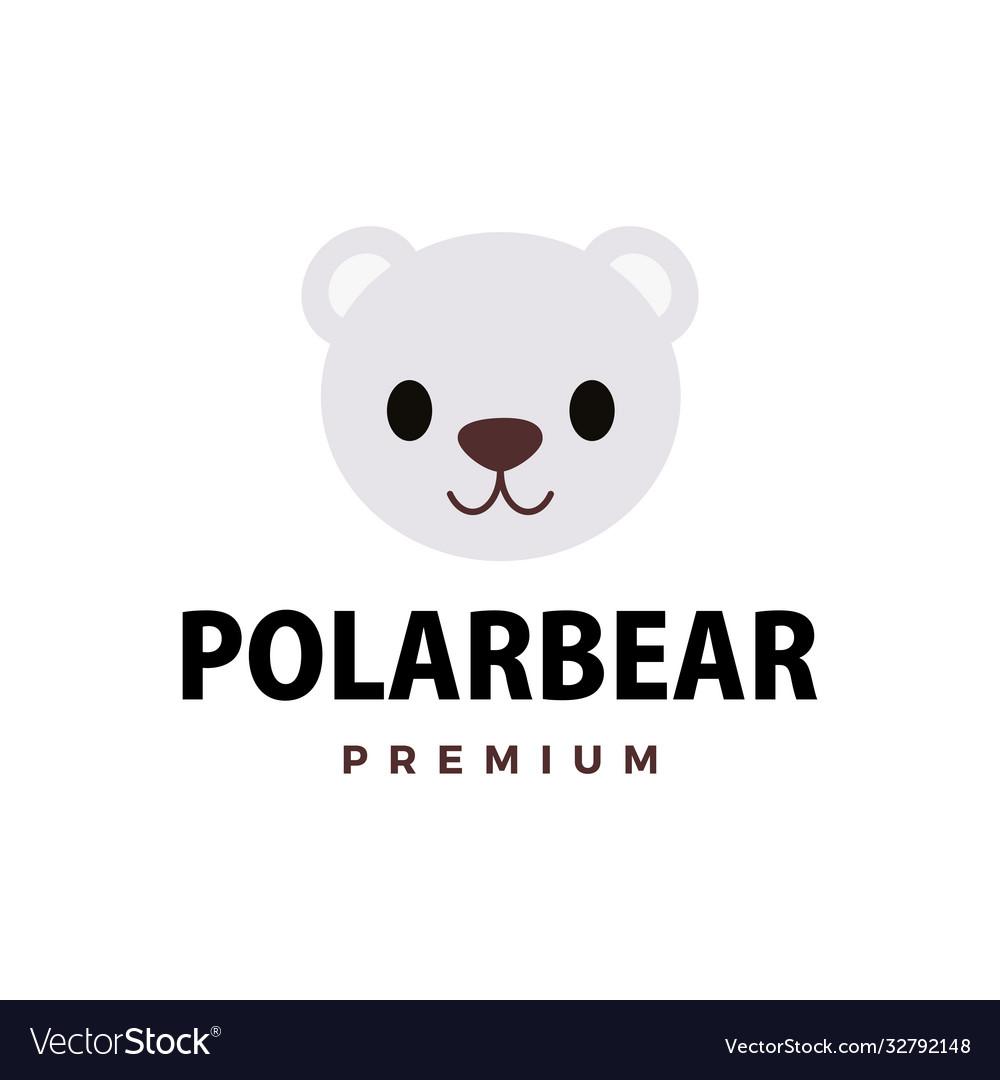 Cute polar bear flat logo icon
