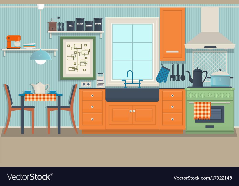 Flat Modern Kitchen Interior Design With City View Vector