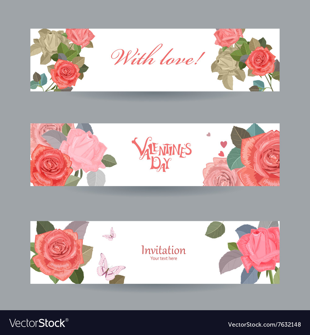 Invitation cards with vintage roses with love for