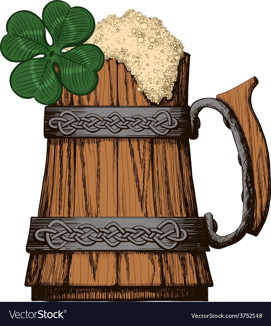 Irish beer mug color Royalty Free Vector Image Irish Beer Mug