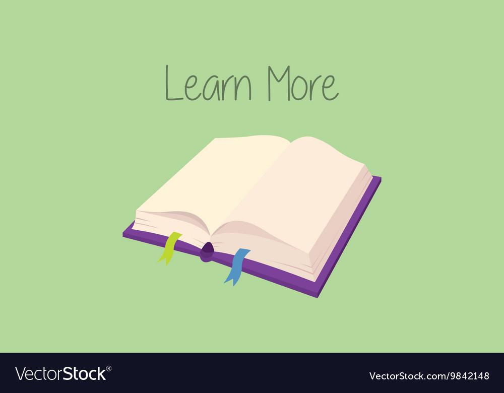 Learn more concept with book open with text on
