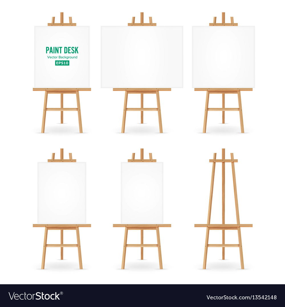 Paint desk artist easel set with white vector image