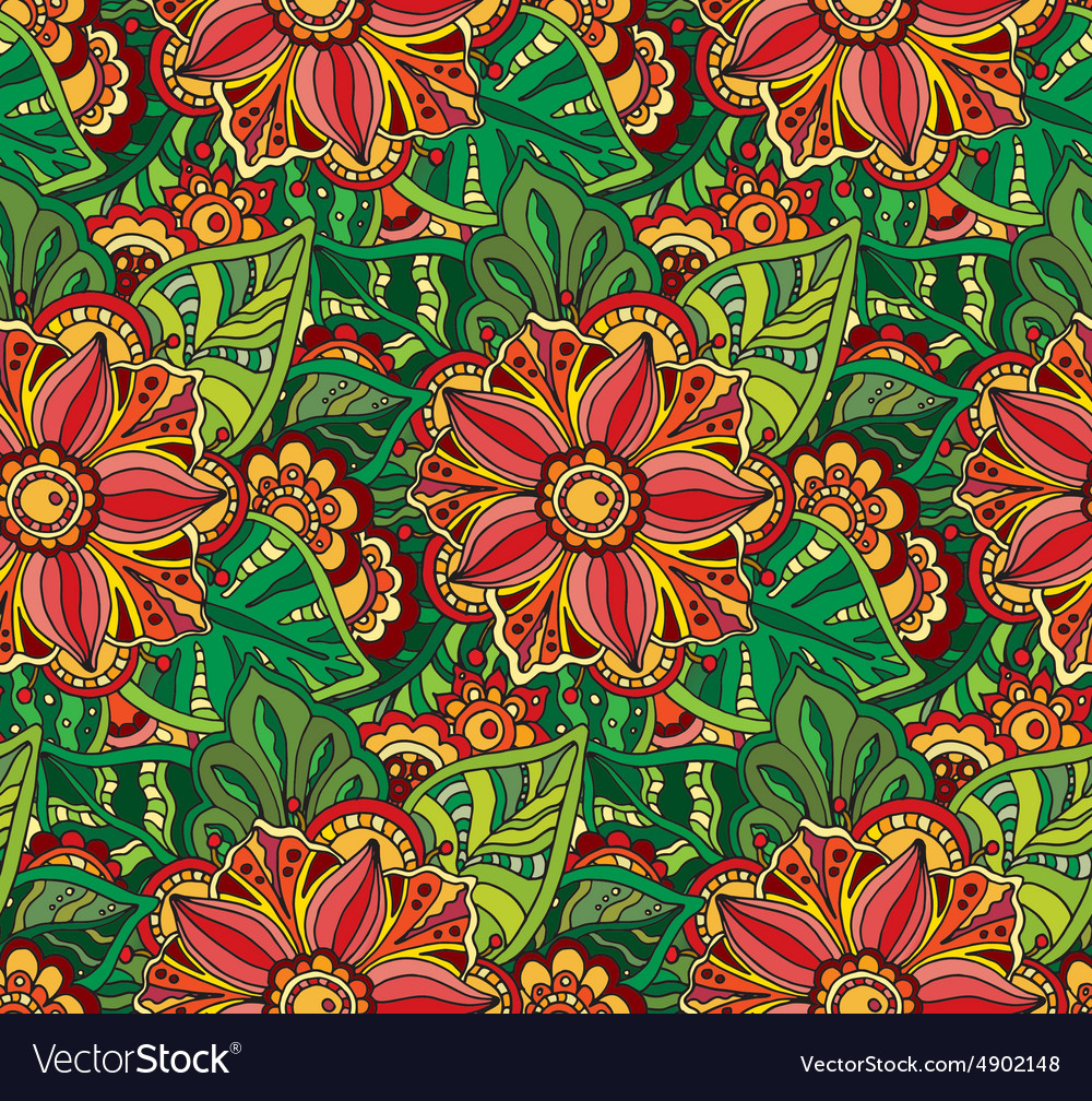 Seamless pattern with Doodle flowers and leaves