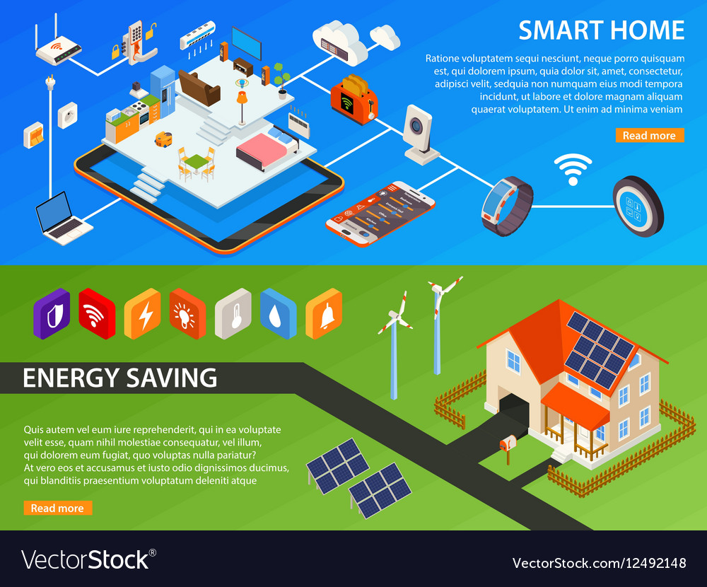 Smart Home 2 Isometric Banners Design vector image