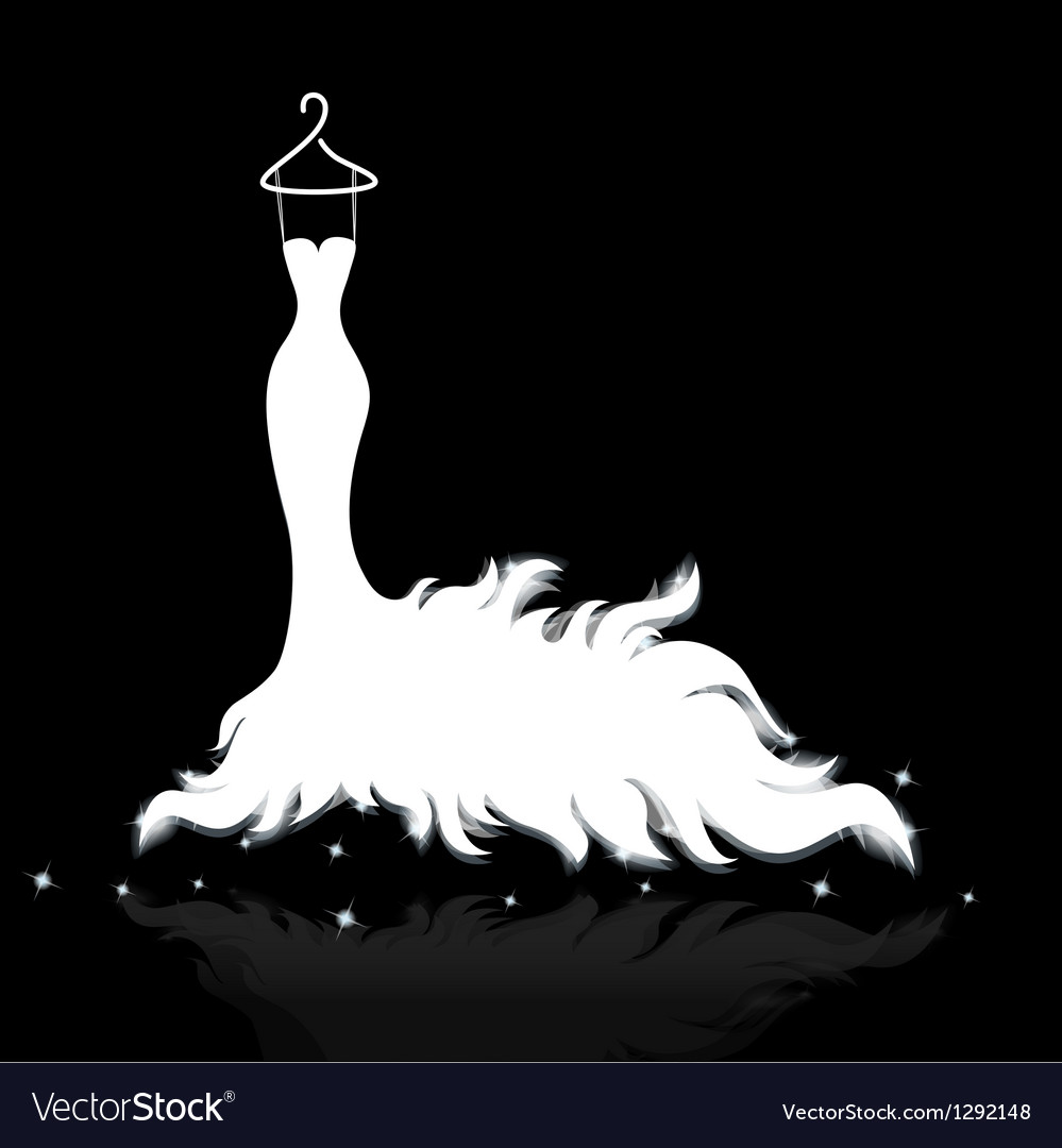 White Wedding Dress Royalty Free Vector Image