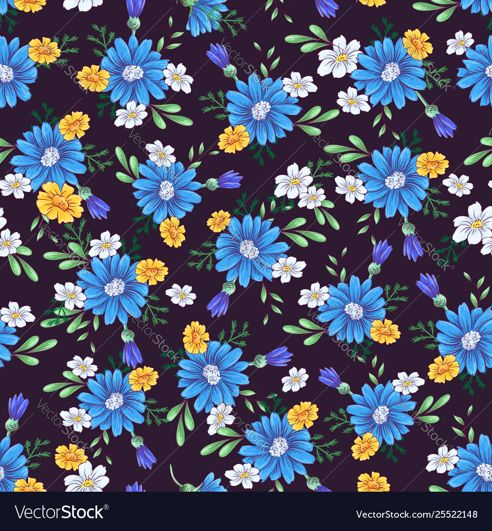 Wild flowers seamless pattern hand drawing