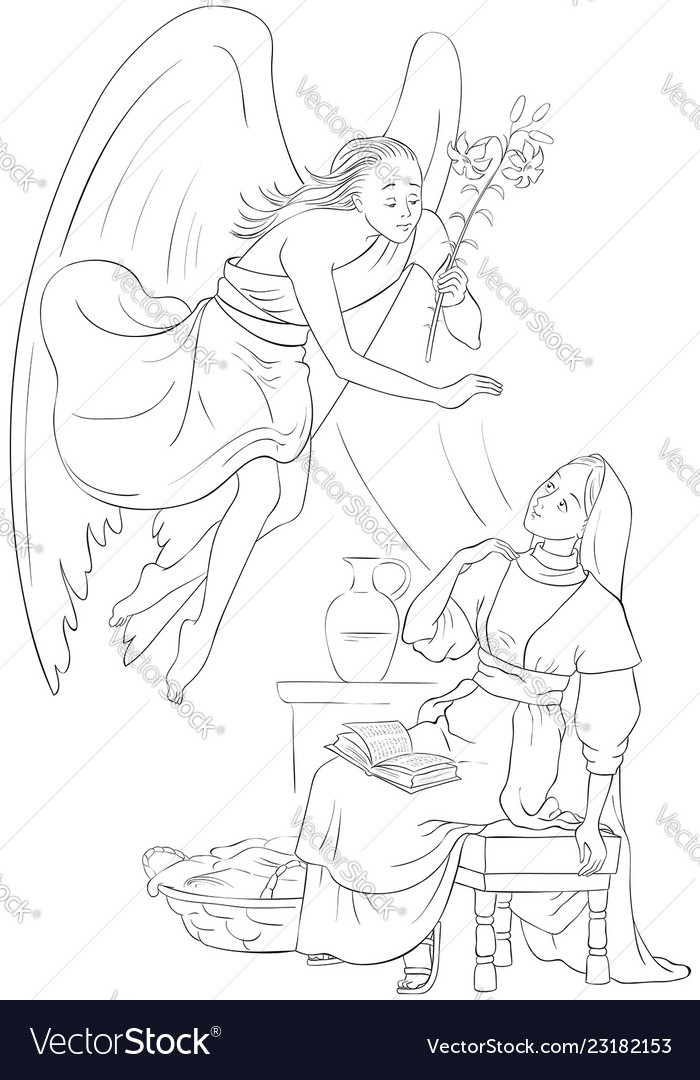 Annunciation coloring page angel and mary cartoon