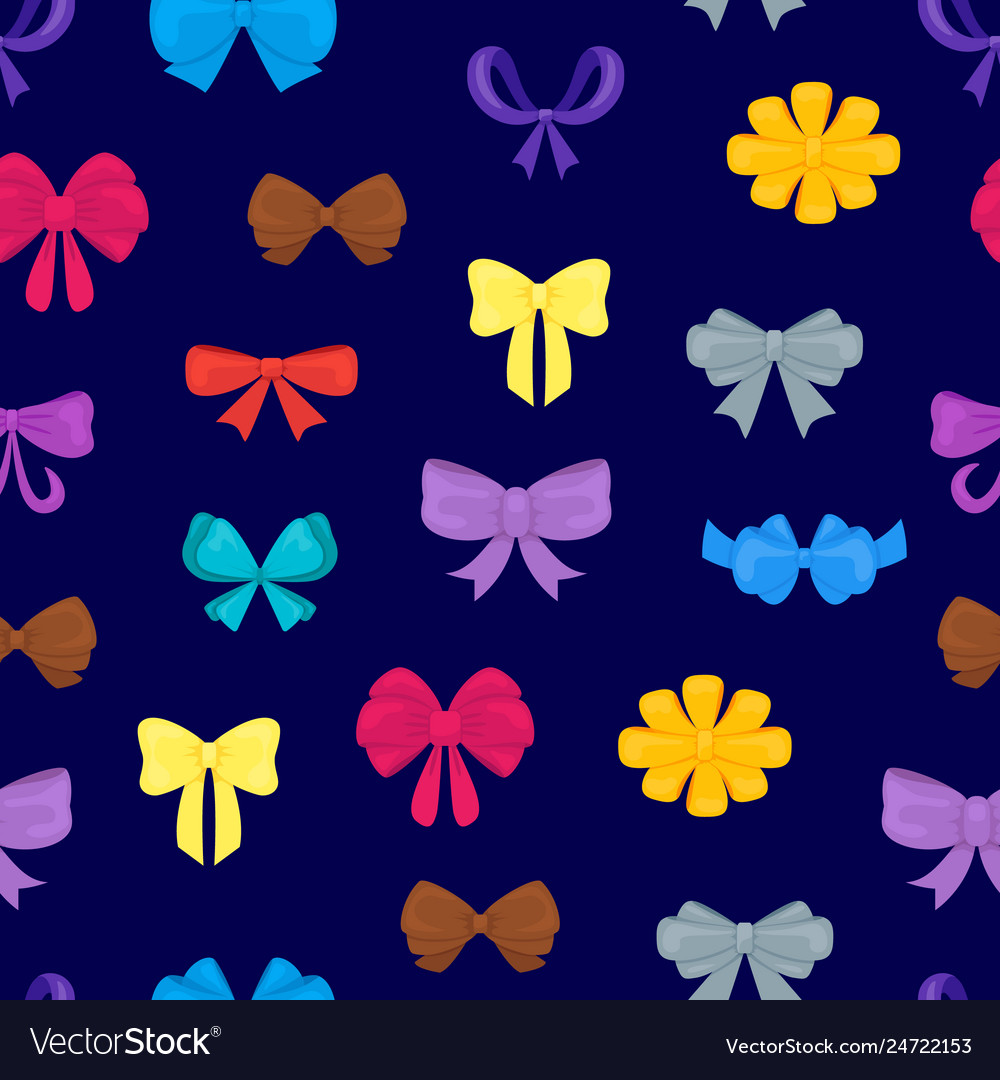 Cartoon gift bows seamless pattern background
