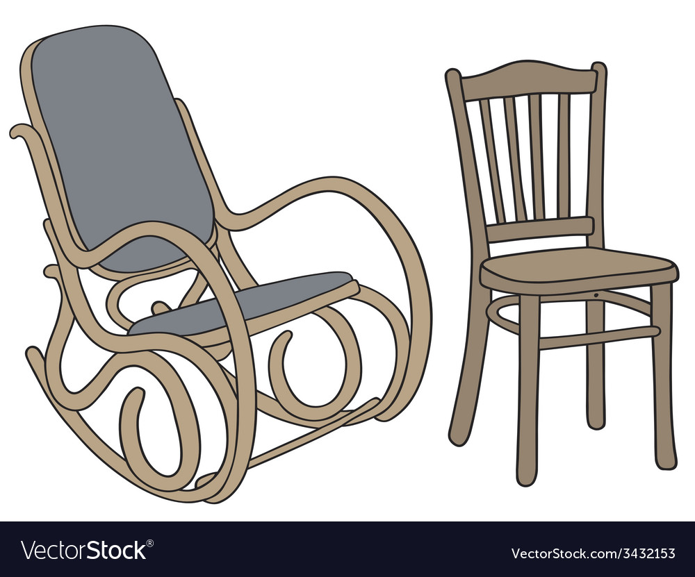 Classic Wooden Rocker And Chair Vector Image