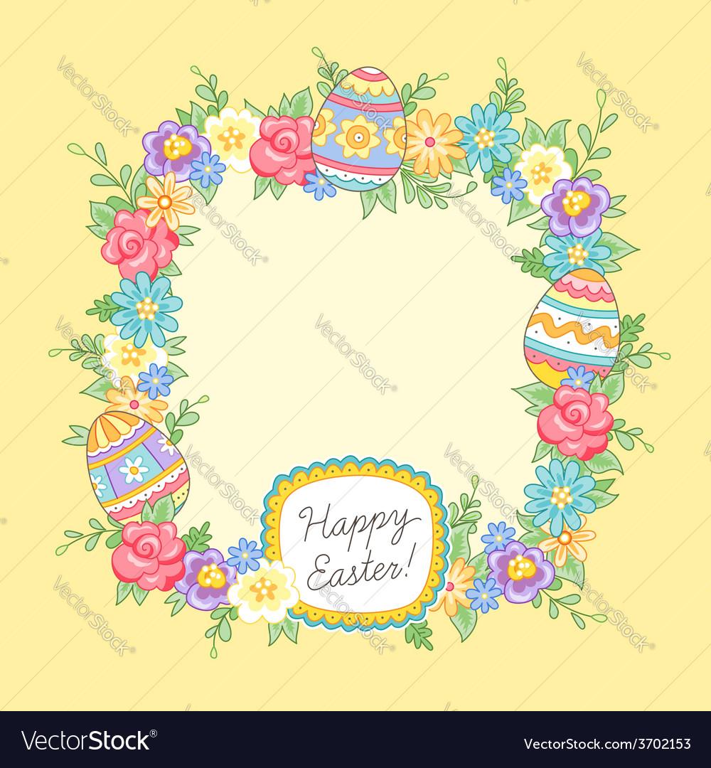 Easter wreath yellow vector image