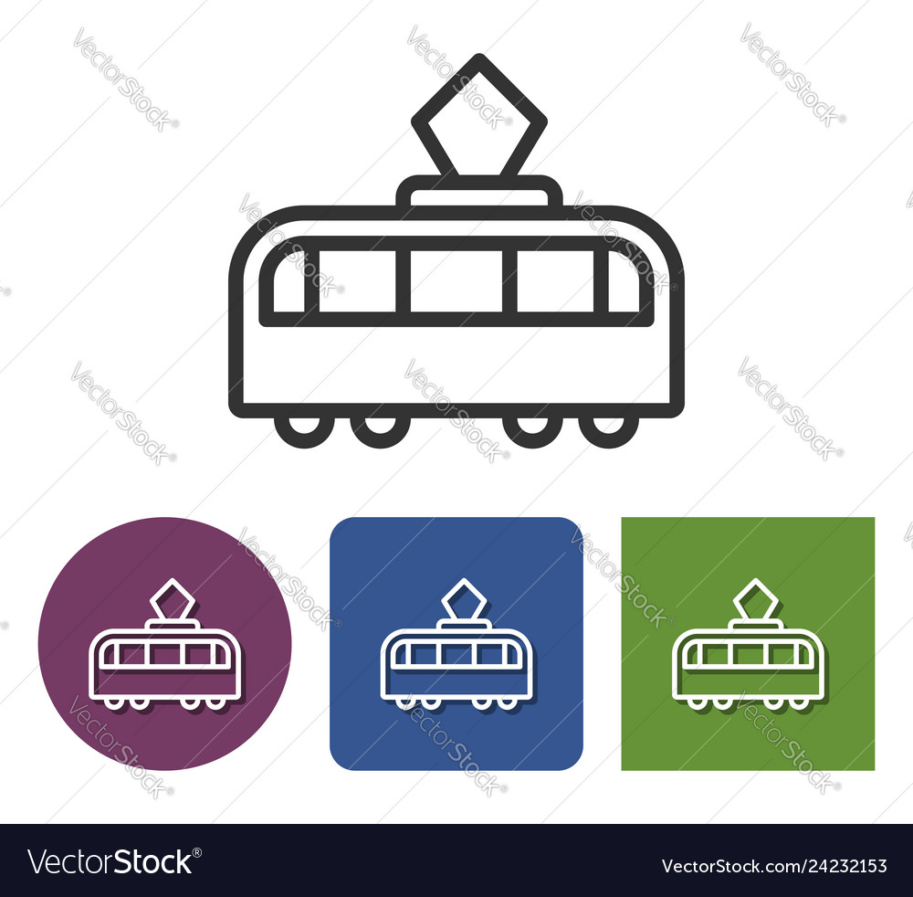 Line icon tram in different variants