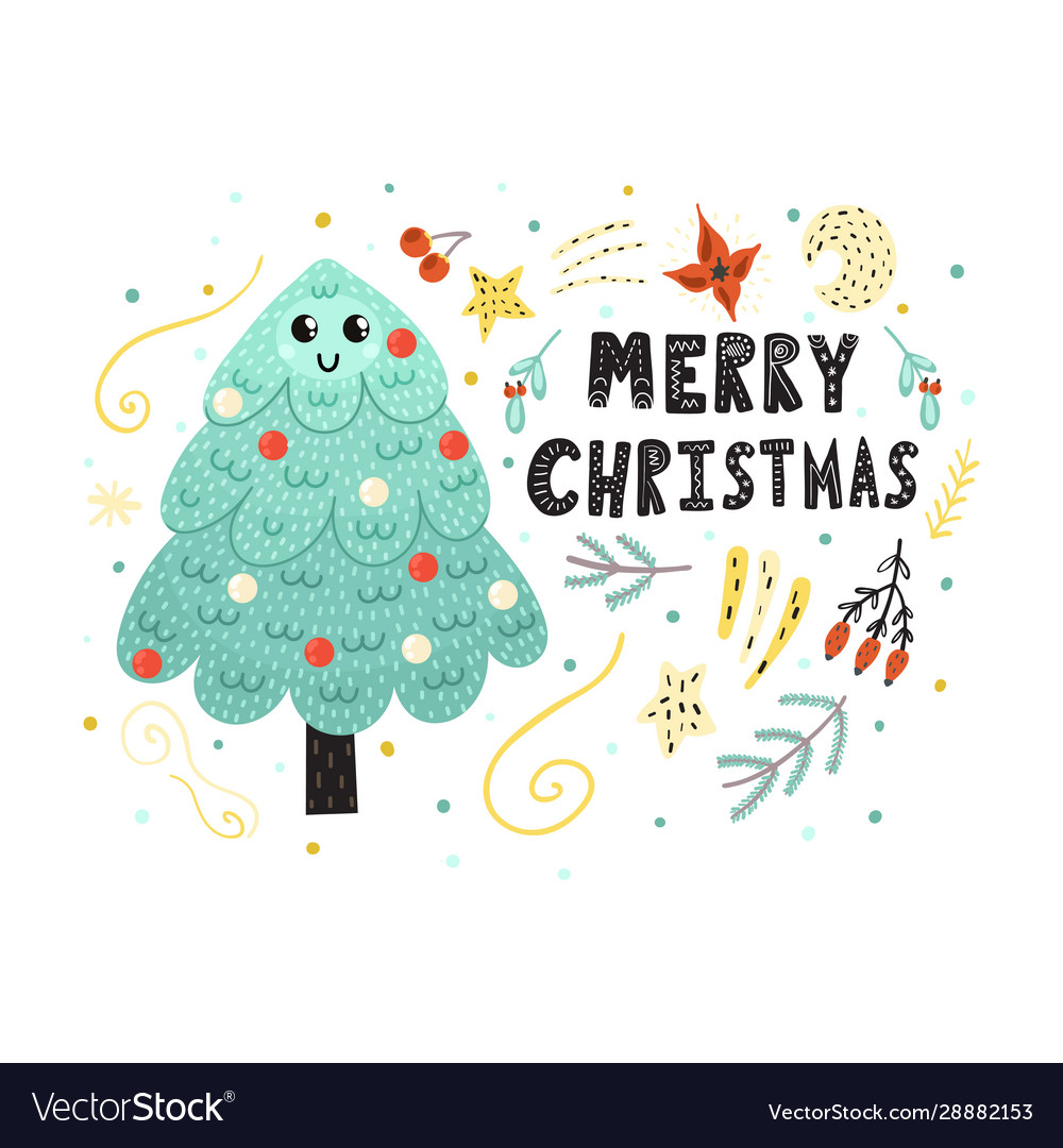Merry christmas card with a cute tree funny