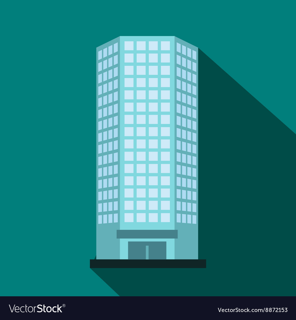 Modern Office Building Icon Flat Style Royalty Free Vector