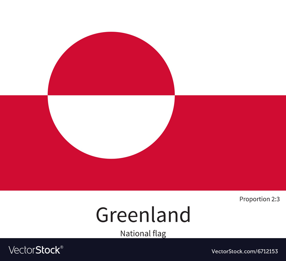National flag of Greenland with correct vector image