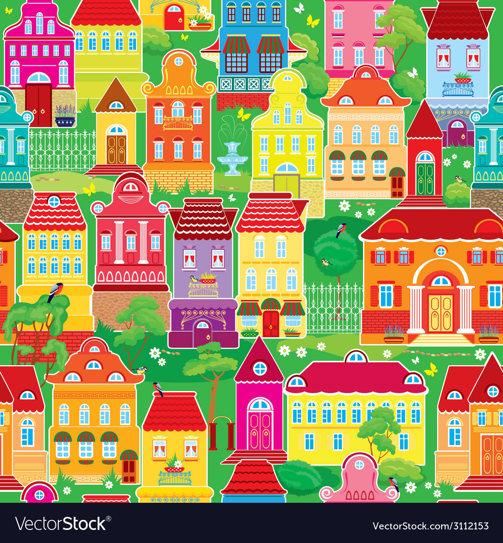 Seamless pattern with decorative colorful houses s