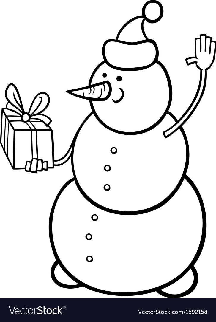 Christmas snowman coloring page Royalty Free Vector Image