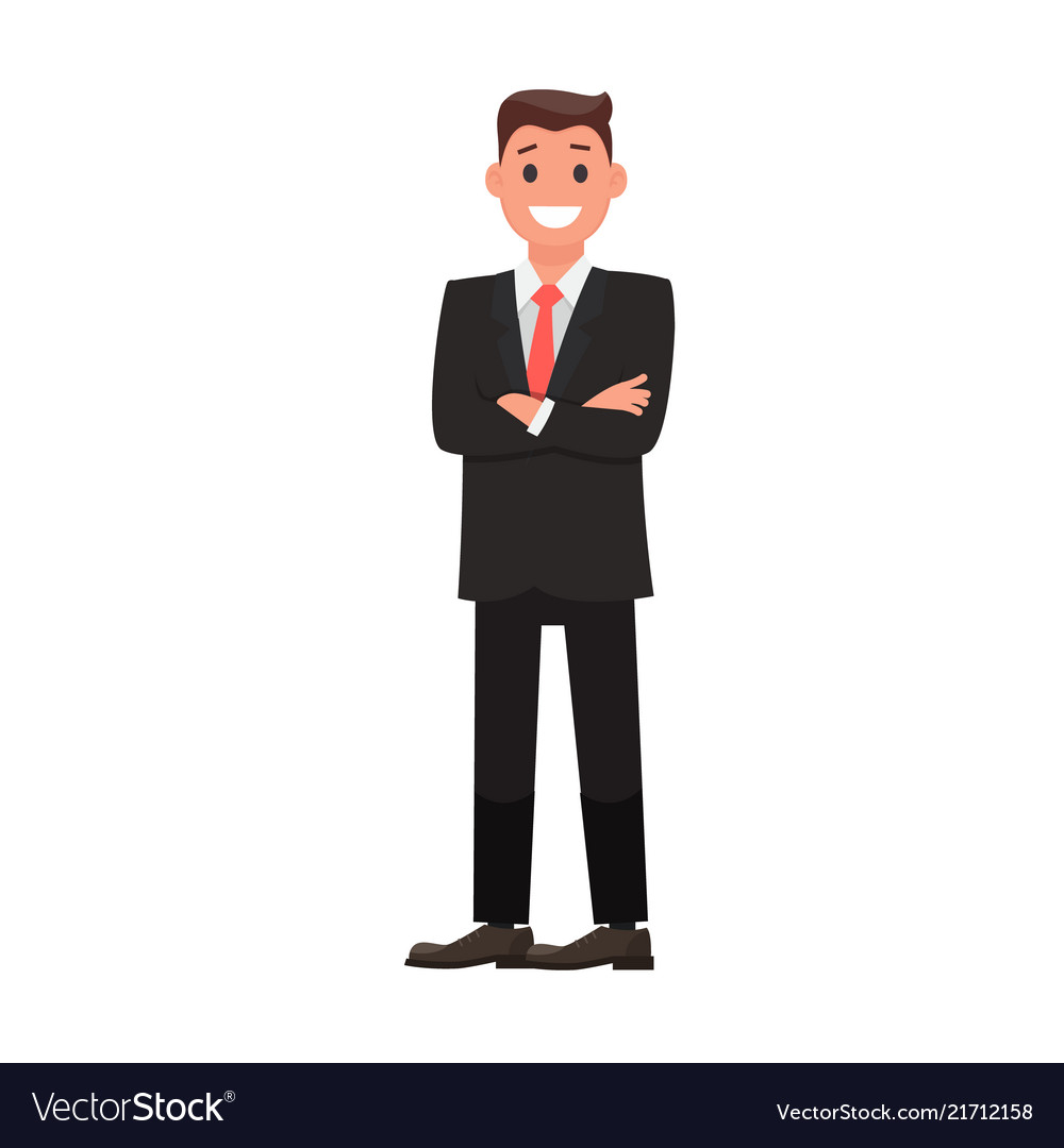 Colorful flat design character businessman