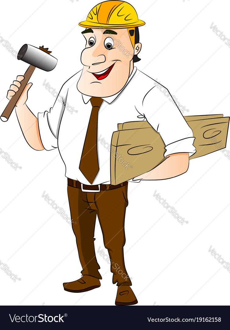 Construction worker holding hammer and wooden