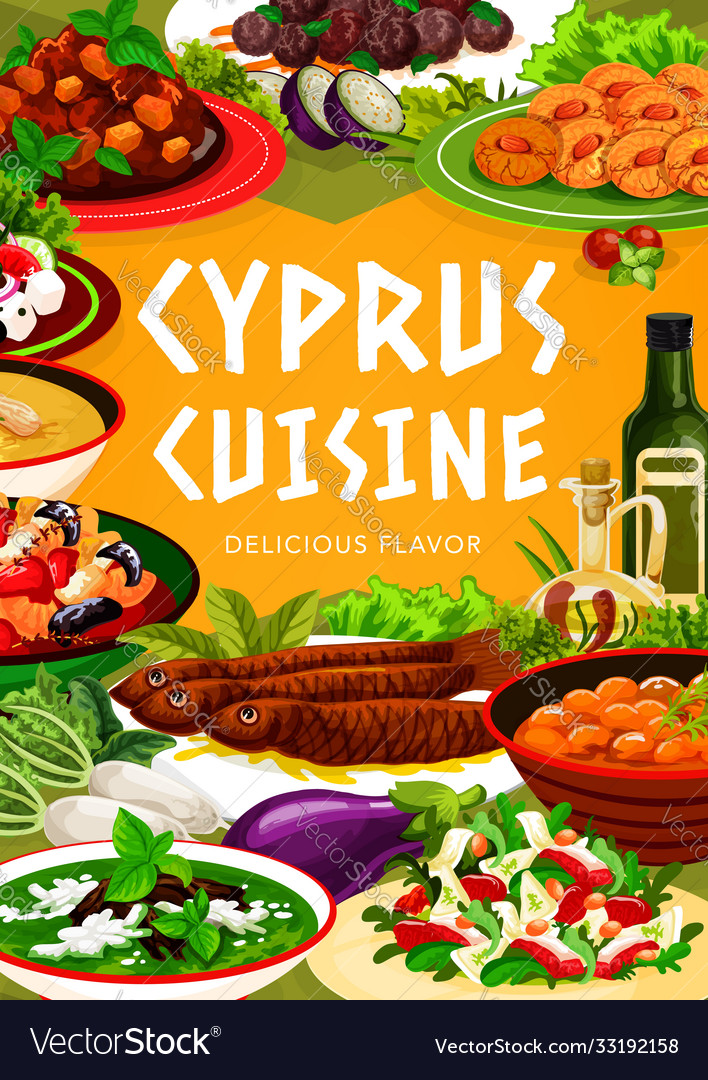 Cyprus cuisine greek food dishes poster