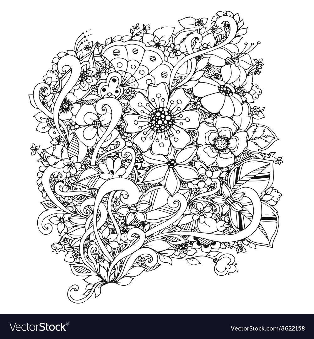 Flowers zentangle doodle Royalty Free Vector Image