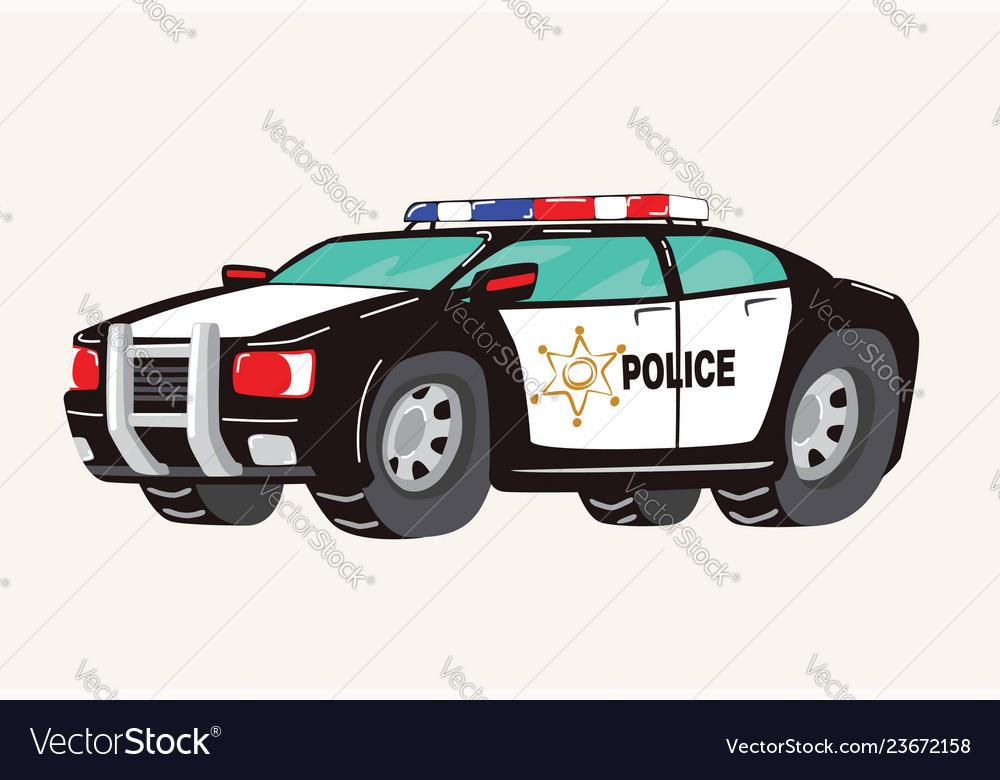 Funny cute hand drawn cartoon police car toy