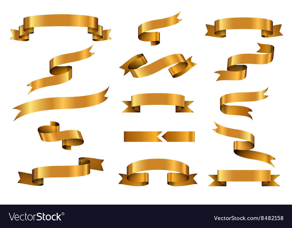 Gold glossy ribbon banners set