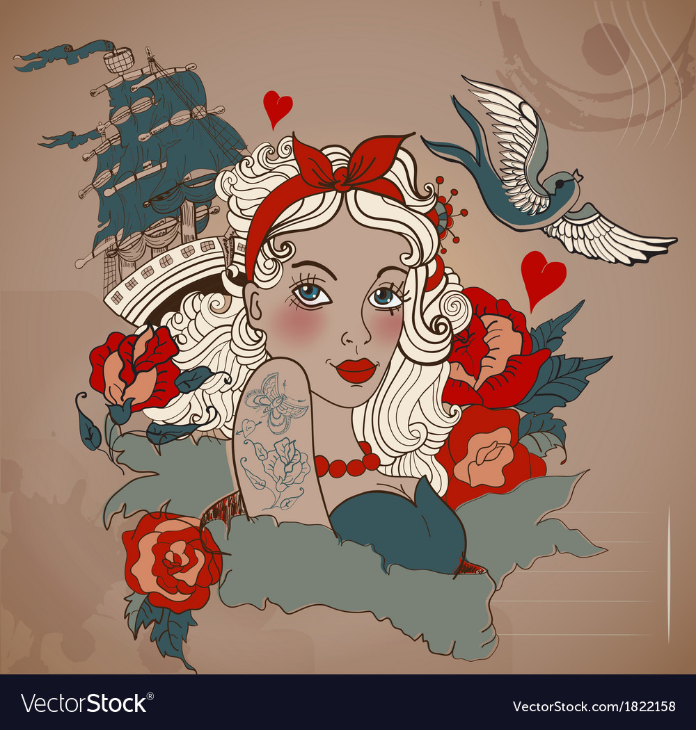 Old-school styled tattoo woman with bird and ship vector image