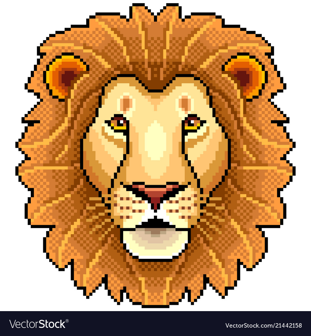 Pixel lion face isolated