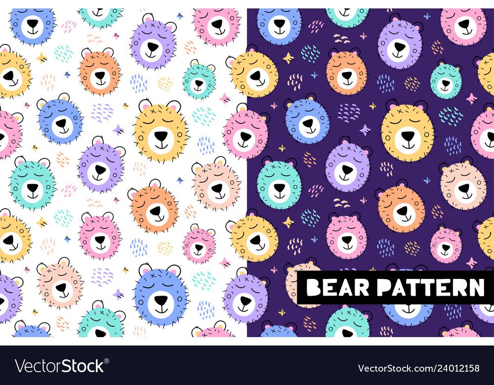 Seamless childish pattern with funny bear animals