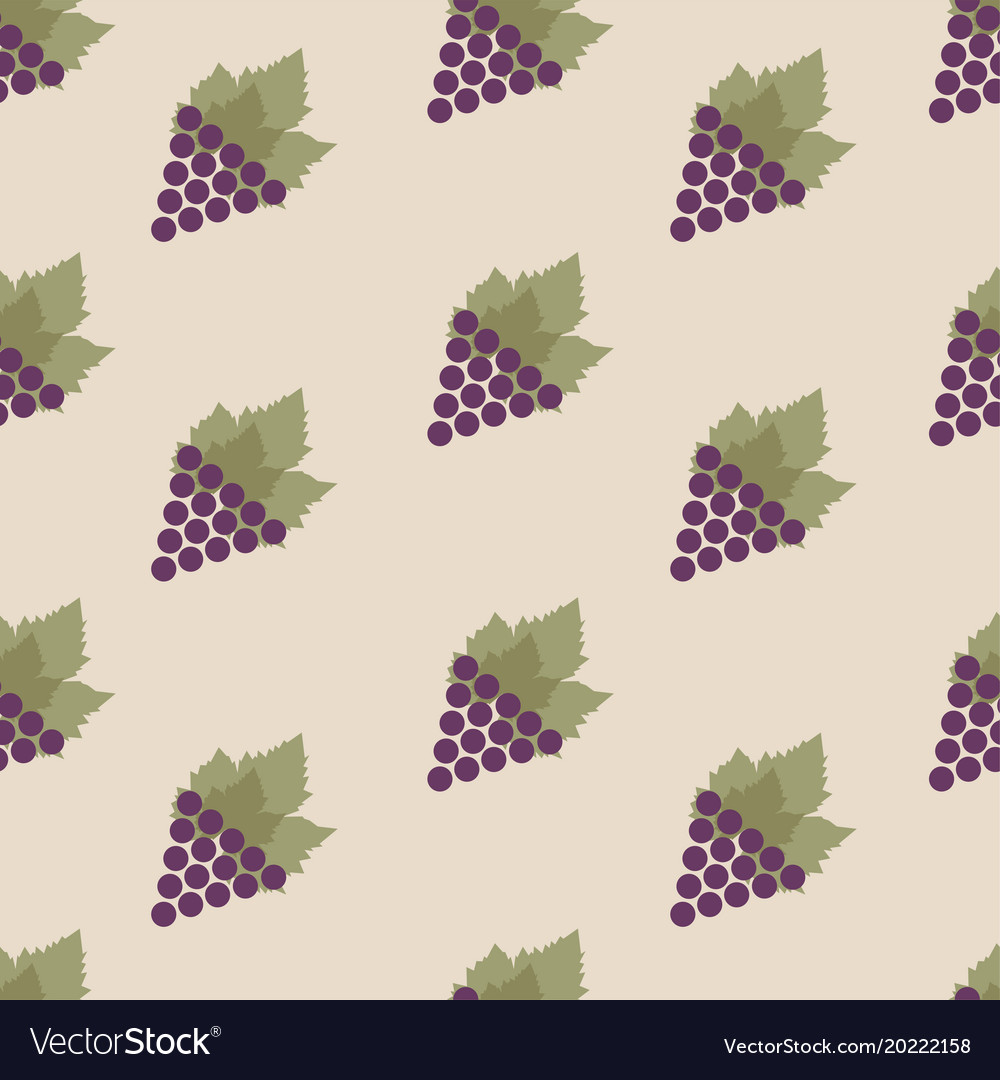 Seamless pattern with grapes and leaves repeating