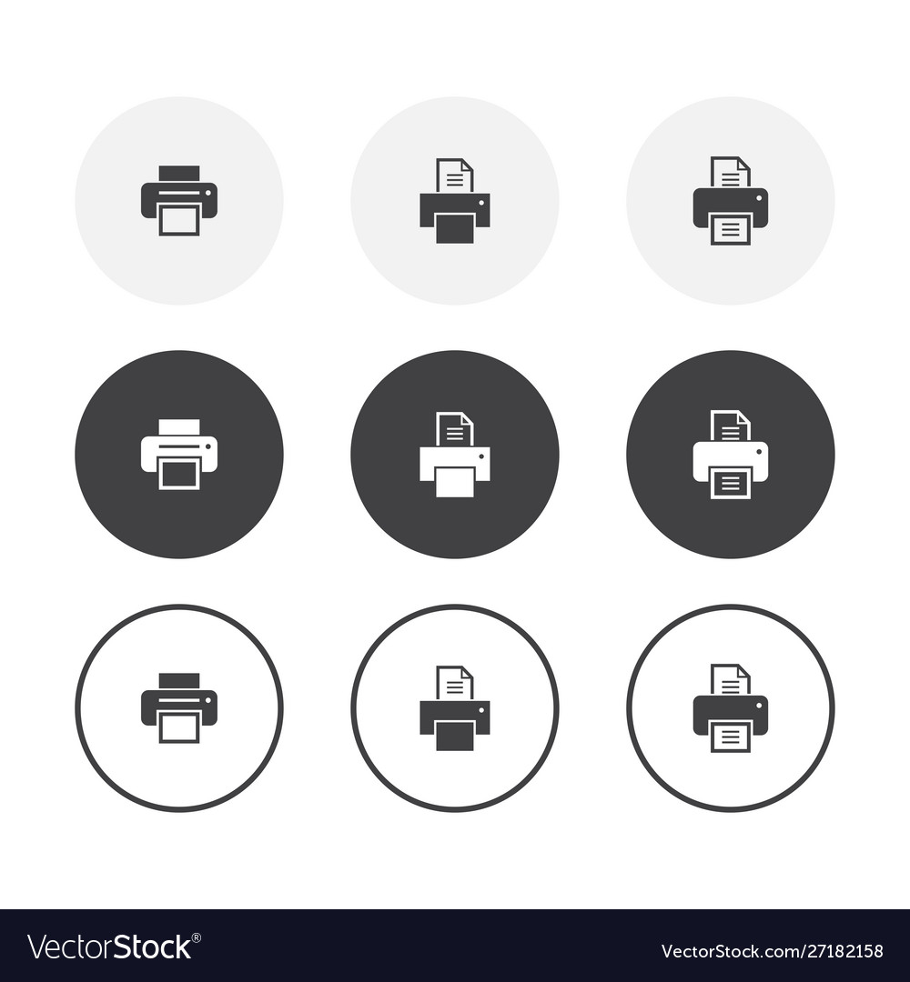 Set 3 simple design printer icons rounded