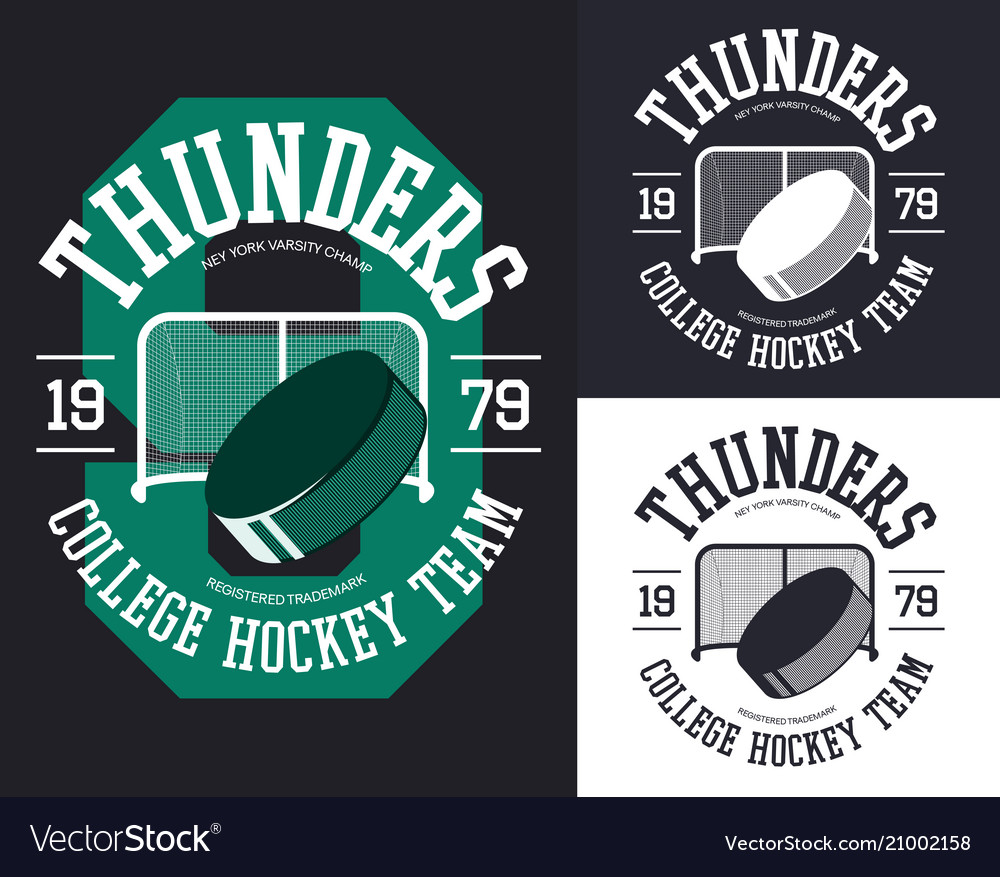 Set of isolated banners for hockey team