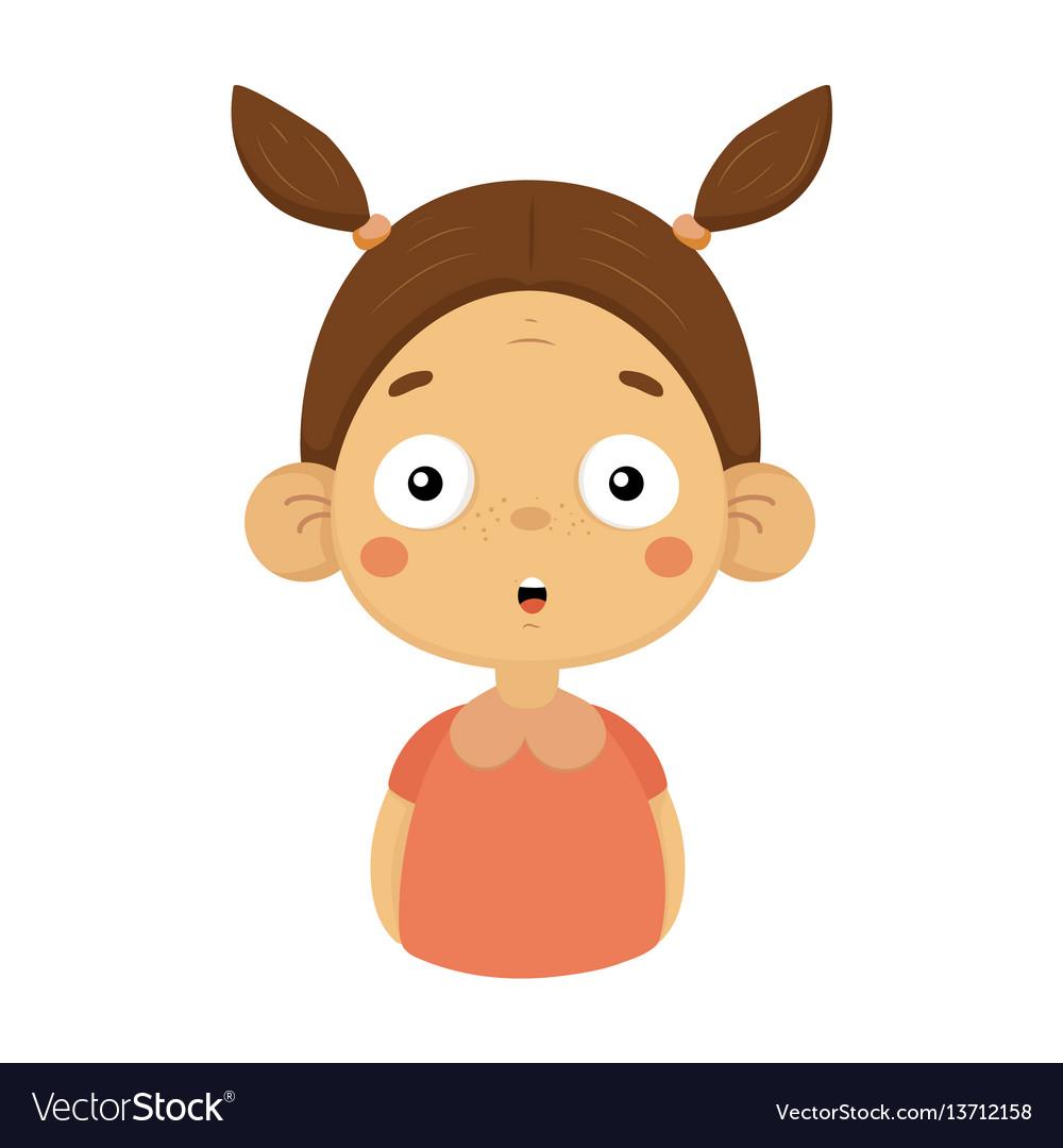 Surprised Little Girl Flat Cartoon Portrait Emoji Vector Image