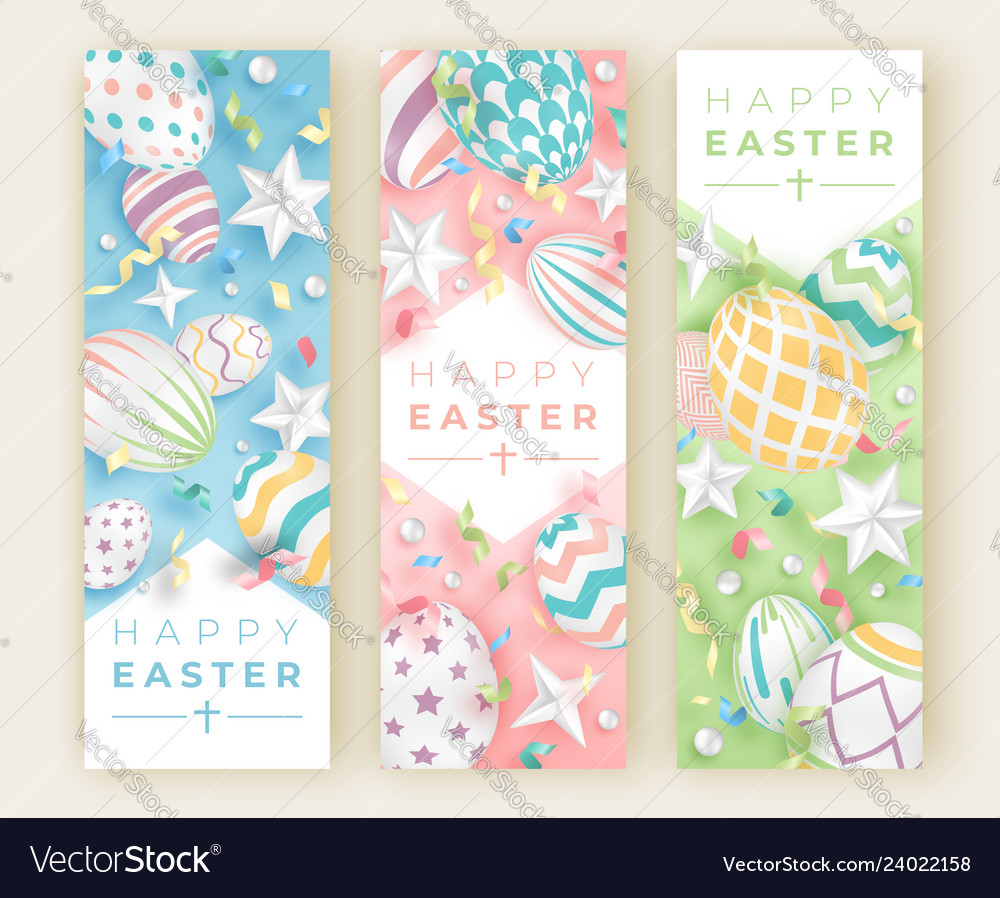 Three easter vertical banners with realistic
