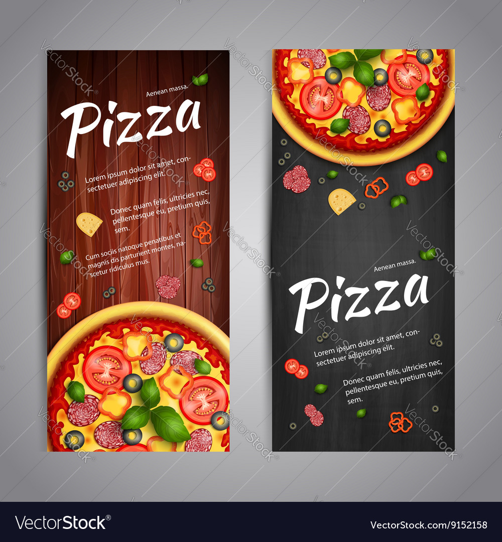 Two Realistic pizza flyer banners