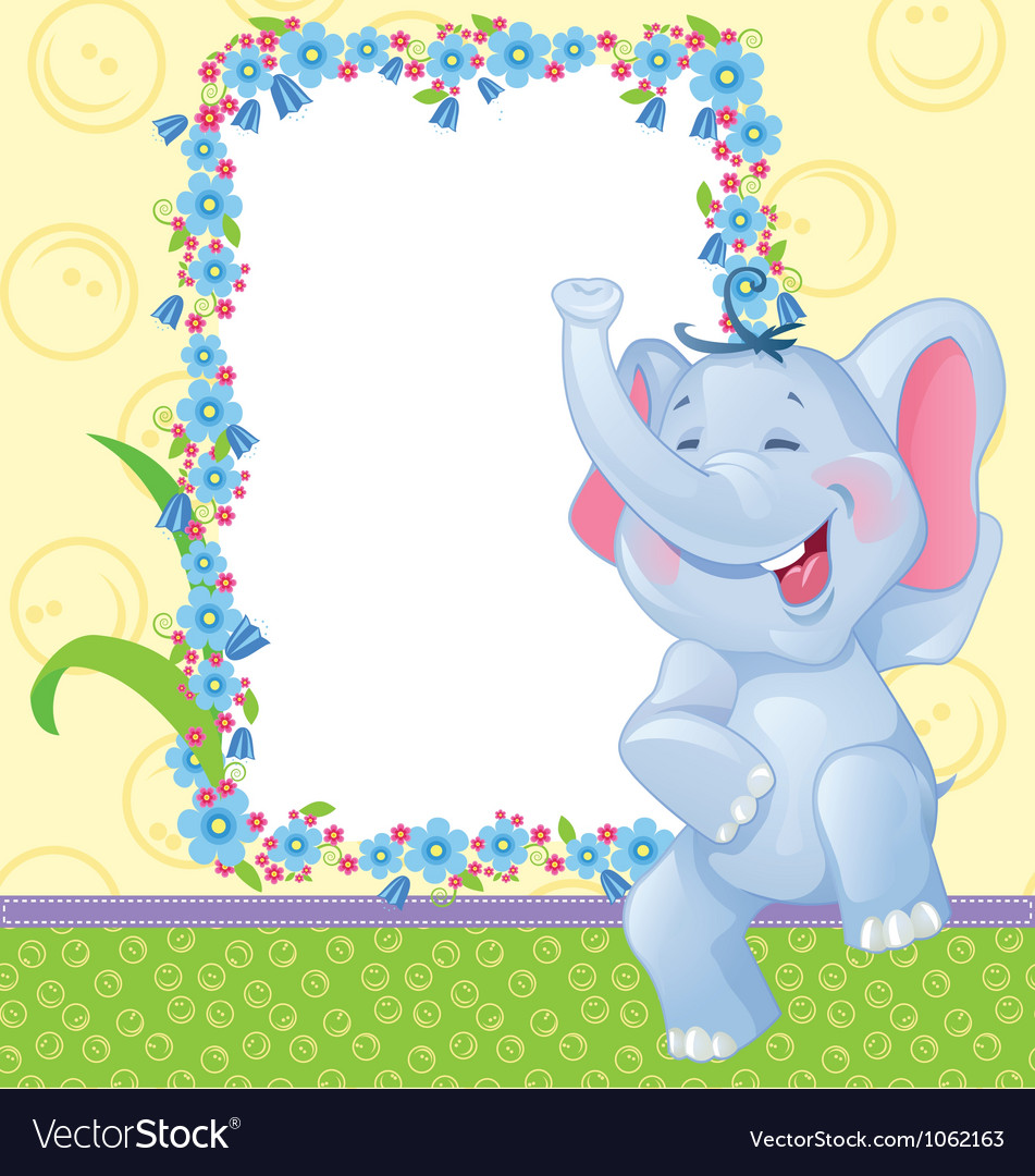 Children frame with elephant Royalty Free Vector Image