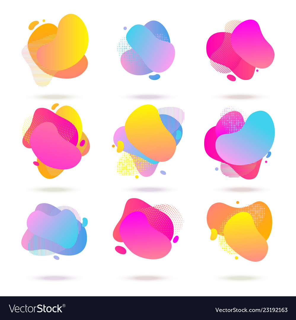Color abstract liquid halftone patterns fluid