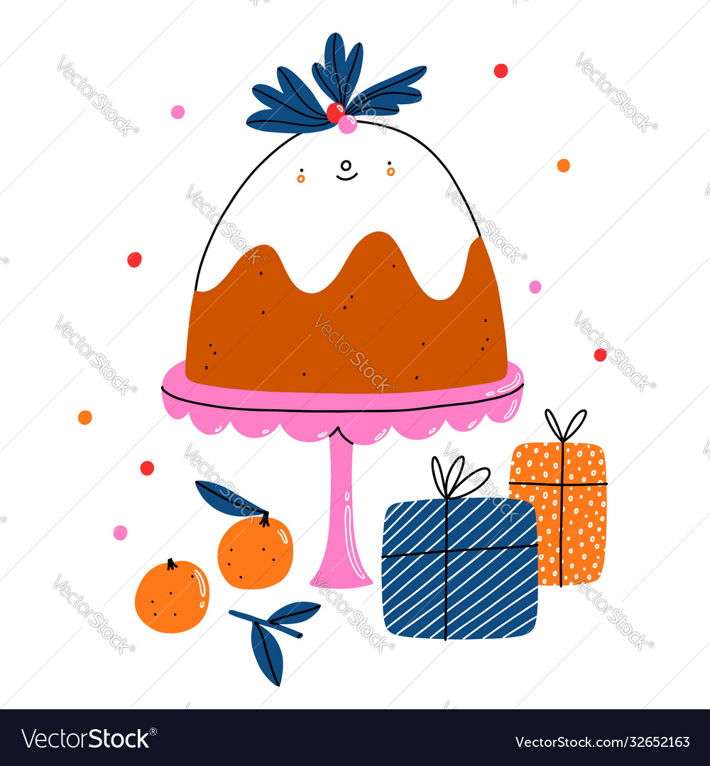 Cute christmas pudding cartoon character