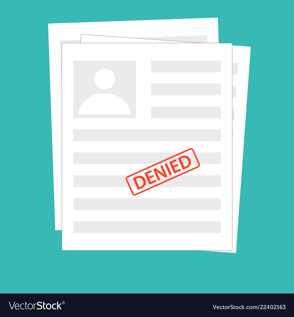 Denied reject document with stamp grey