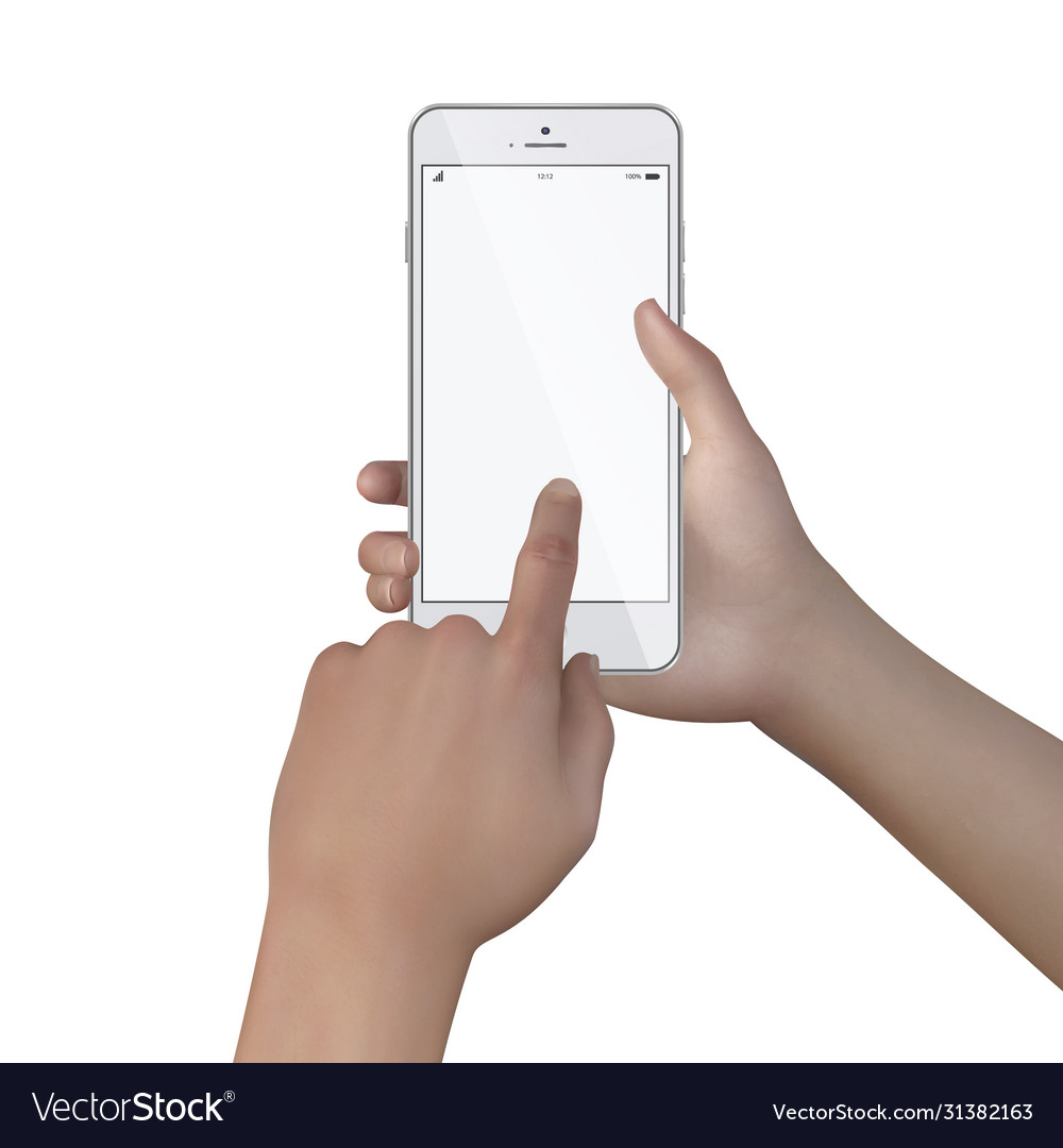 Female hands hold smartphone with blank screen