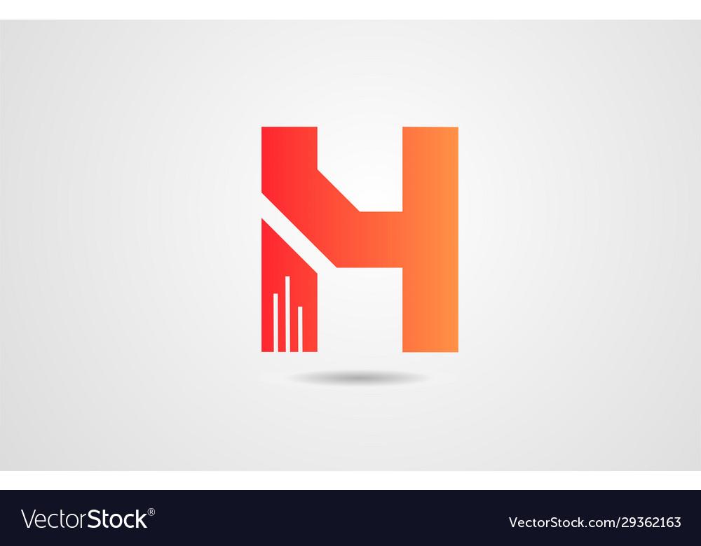 H orange alphabet letter logo icon design